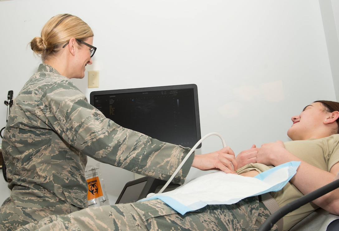 A patient receives an ultra-sound at Mountain Home Air Force Base, Idaho, January 12, 2017. Most prenatal services will still be available at the outpatient clinic after the Military Treatment Facility transition is complete. (U.S. Air Force photo by Senior Airman Malissa Lott/RELEASED)