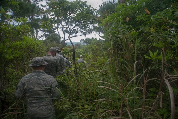 U.S. Air Force Airmen assigned to the 18th Medical Group navigate a jungle as part of the Preventative Aerospace Medicine Convention April 21, 2017, at Kadena Air Base, Japan. Correctly and safely navigating potentially dangerous terrain was one of the focal points of the PAMACON. (U.S. Air Force photo by Airman 1st Class Quay Drawdy)