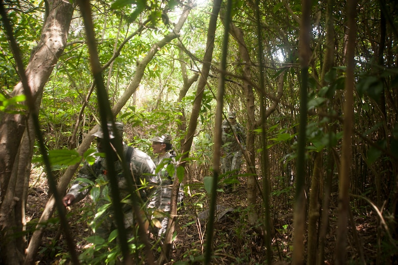 U.S. Air Force Airmen assigned to the 18th Medical Group navigate a jungle as part of the Preventative Aerospace Medicine Convention April 21, 2017, at Kadena Air Base, Japan. The PAMACON was designed to test the knowledge and capabilities of the 18th MDG regarding the setup and maintenance requirements for deployed locations. (U.S. Air Force photo by Airman 1st Class Quay Drawdy)