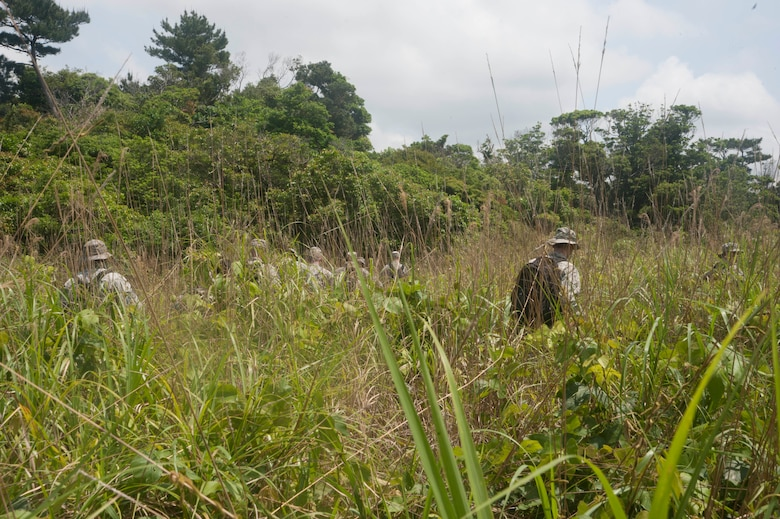 U.S. Air Force Airmen assigned to the 18th Medical Group navigate through tall grass during a navigation exercise during the Preventative Aerospace Medicine Convention April 21, 2017, at Kadena Air Base, Japan. Airmen from public health, bioenvironmental, flight medicine and other units within the 18th MDG led hands-on training activities in order to better prepare and understand the requirements when establishing and supporting an operational site in a deployed environment. (U.S. Air Force photo by Airman 1st Class Quay Drawdy)