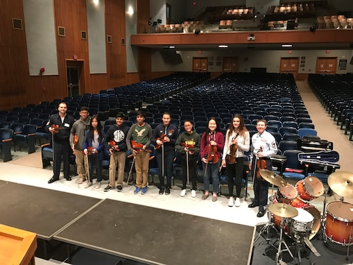 Our Air Force Strings are out visiting 8 schools in Montgomery and Indiana counties in Pennsylvania the first week of April. This is part of our initiative to provide educational outreach with our Advancing Innovation Through Music (AIM) program. This will culminate with a concert Friday, March 31 at 7pm at Arcola Intermediate School in Eagleville, PA where our Strings will perform with local MS students. (U.S. Air Force photos/MSgt Joshua Kowalsky/released)