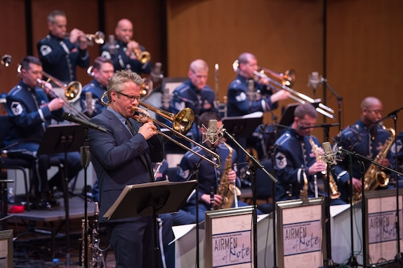 Trombonist Marshall Gilkes displayed incredible range and versatility  at Schlesinger Hall with the Airmen of Note for the Jazz Heritage Series. (U.S. Air Force photos/CMSgt Bob Kamholz/released)