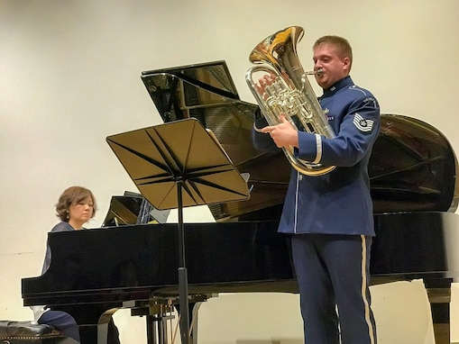 Early this month, members of the USAF Ceremonial Brass' low brass section took the Lyceum (Alexandria, Virginia) by storm. Here is a picture of TSgt. Erik Lundquist honing his craft. He was accompanied by Eunae Ko Han. (U.S. Air Force photos/TSgt Christine Purdue Jones/released)