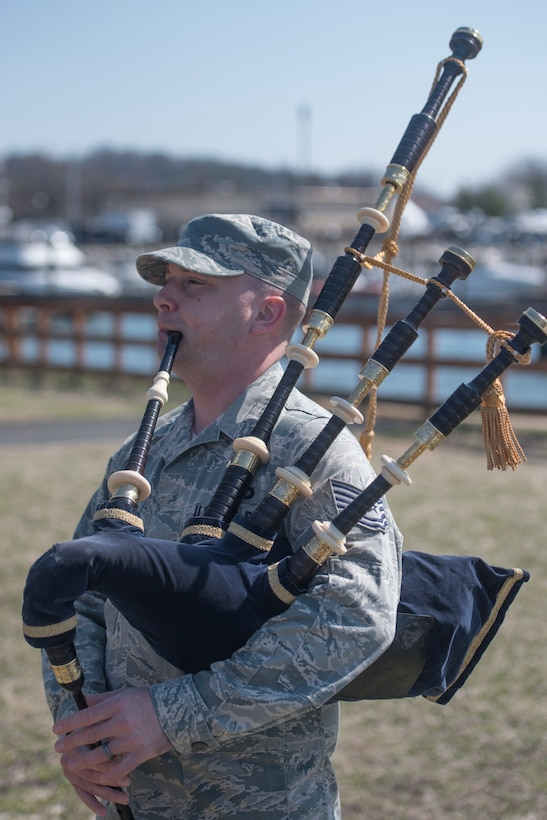 Tech. Sgt. Adam Tianello, U.S. Air Force Band Ceremonial Brass Band bagpiper, plays the bagpipe at Joint Base Anacostia-Bolling, Washington, D.C., March 9, 2017. Tianello joined the Band in 2013 as the only Air Force specialty code bagpiper. (U.S. Air Force photos/Airman 1st Class Rustie Kramer/released)