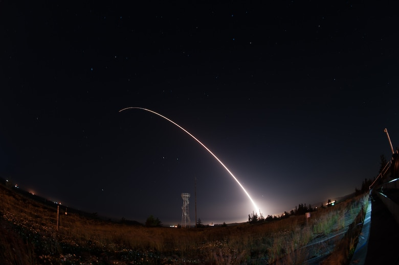 An unarmed Minuteman III intercontinental ballistic missile launches during an operational test at 12:03 a.m., PDT, April 26, from Vandenberg Air Force Base, Calif. (U.S. Air Force photo by Michael Peterson)