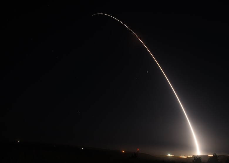 An unarmed Minuteman III intercontinental ballistic missile launches during an operational test at 12:03 a.m., PDT, April 26, from Vandenberg Air Force Base, Calif. (U.S. Air Force photo by Senior Airman Kyla Gifford)