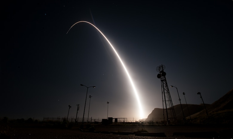 An unarmed Minuteman III intercontinental ballistic missile launches during an operational test at 12:03 a.m., PDT, April 26, from Vandenberg Air Force Base, Calif. (U.S. Air Force photo by Senior Airman Ian Dudley)