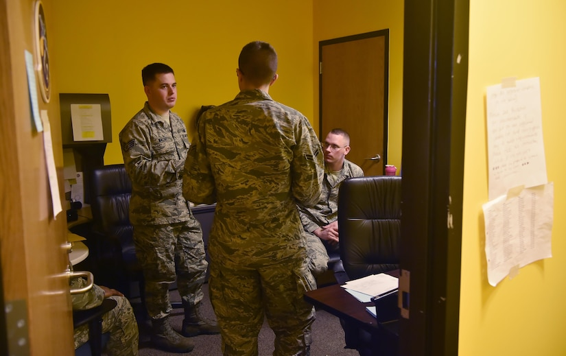 Staff Sgt. Max Wazny, left, 628th Contracting Squadron contract specialist, leads a 628th CONS team during a contingency contracting exercise at Joint Base Charleston, S.C., April 21, 2017. The 628th CONS and 628th Comptroller Squadron integrated to increase readiness during the exercise and tested the skillsets and knowledge of junior contracting and finance Airmen helping prepare them for a deployed environment.