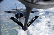 A U.S. Air Force F-35A Lightning II aircraft assigned to Hill Air Force Base, Utah, is refueled by a 100th Air Refueling Wing KC-135 Stratotanker during a flight to Estonia, April 25, 2017. The F-35s participated in a first-ever flying training deployment to Europe, and the forward deployment to Estonia allowed Airmen to better understand NATO's current infrastructure and strengthen interoperability with allies. (U.S. Air Force photo by Senior Airman Christine Groening)