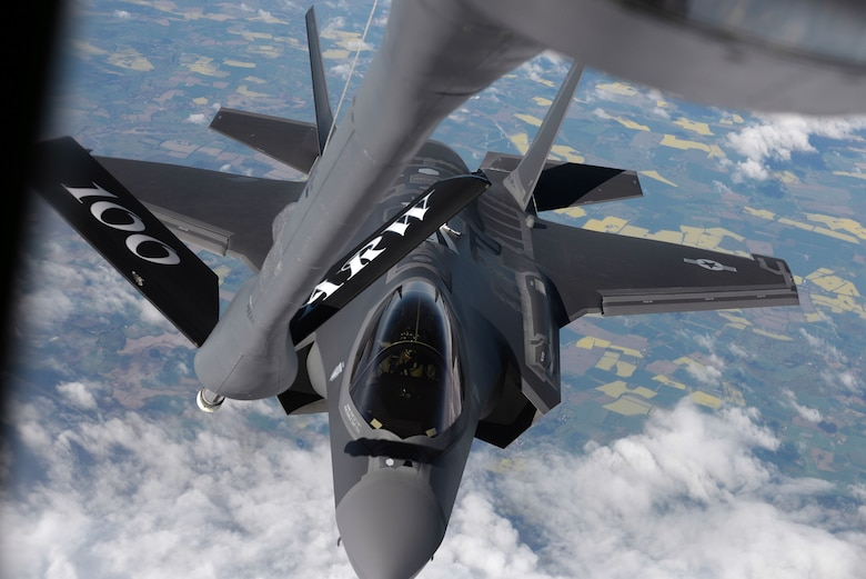 A U.S. Air Force F-35 Lightning II from Hill Air Force Base, Utah, is refueled by a 100th Air Refueling Wing KC-135 Stratotanker during a flight to Estonia on April 25, 2017. The F-35s are participating in their first-ever flying training deployment to Europe. (U.S. Air Force photo by Senior Airman Christine Groening)