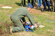 Maj. Michael Adams from the 106th Air Refueling Squadron lays a wreath on the grave of Pete Ray at the Forest Hills Cemetery in Birmingham Alabama April 19, 2017. Pete Ray, Leo Baker, Wade Gray and Riley Shamburger from the Alabama Air National Guard were shot down on April 19,1961 while flying B-26 bombers during the Bay of Pigs invasion. The Bay of Pigs was a Central Intelligence Agency mission. It was intended to use Cuban exiles to invade the island of Cuba and start a revolution against Fidel Castro. The mission was carried out in secrecy by Airmen from the Alabama Air National Guard. (U.S. Air National Guard photo by: Capt. Jonathan Russell)