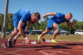Airmen Justin Fuchs and Matt Cable participate a track session at the Air Force team's training camp at Eglin Air Force Base, Fla., April 25, 2017. Air Force photo by Samuel King Jr.