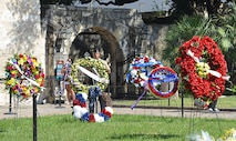 Wreaths from various military branches and civic organizations were placed at the Alamo Monday during the Fiesta San Antonio Pilgrimage.