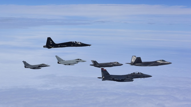 U.S. Air Force, French air force and Royal air force fly in formation during ATLANTIC TRIDENT 17 near Joint Base Langley-Eustis, Va., April 26, 2017. The exercise simulated a highly-contested, degraded and operationally-limited environment where U.S. pilots, allied pilots and ground crews tested their readiness, enhanced interoperability through combined operations, to develop new tactics, techniques and procedures. (U.S. Air Force photo/Staff Sgt. Natasha Stannard)
