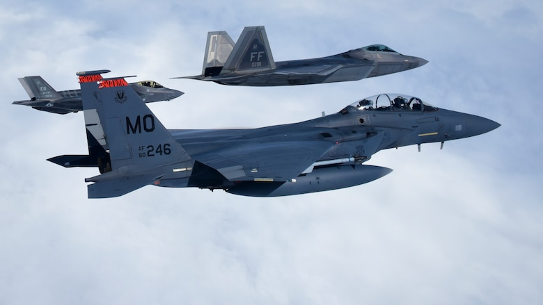 Fourth and fifth-generation U.S. Air Force aircraft fly in a training airspace during ATLANTIC TRIDENT 17 near Joint Base Langley-Eustis, Va., April 26, 2017. Both generations of aircraft from the U.S. Air Force, French air force and Royal air force participated in the exercise to provide differing capabilities needed in a highly contested airspace. (U.S. Air Force photo/Staff Sgt. Natasha Stannard)