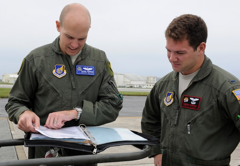 U.S. Air Force Maj. Jacob Johnson, 909th Air Refueling Squadron director of wing inspections, and 1st Lt. Huston Harrison, 909th ARS standards and evaluations liaison officer, review a pre-flight checklist April 20, 2017 at Kadena Air Base, Japan. Pre-flight checks ensure aircraft are safe for flight and can carry out designated missions. (U.S. Air Force photo by Senior Airman Lynette M. Rolen)