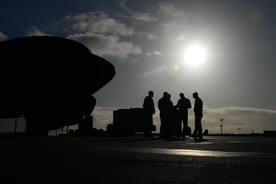 U.S. Air Force Airmen from the 100th Air Refueling Wing conduct a preflight briefing April 18, 2017 on RAF Mildenhall, England. Airmen from the 100th ARW flew to Rota Naval Air Station, Spain, to support African Lion, an exercise aimed toward strengthening relationships with U.S. allies and partners. (U.S. Air Force photo by Staff Sgt. Micaiah Anthony)