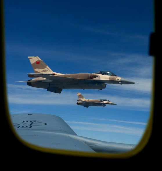 Moroccan F-16 Fighting Falcons fly off the wing of a U.S. Air Force KC-135 Stratotanker assigned to the 100th Air Refueling Wing from RAF Mildenhall, England, over Morocco during exercise African Lion on April 18, 2017. The F-16 is a compact, highly maneuverable multi-role fighter aircraft capable of air to air combat and air to surface attack. (U.S. Air Force photo by Staff Sgt. Micaiah Anthony)