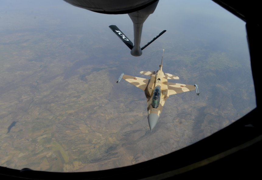 A Moroccan F-16 Fighting Falcon prepares to receive fuel from a U.S. Air Force KC-135 Stratotanker assigned to the 100th Air Refueling Wing from RAF Mildenhall, England, during exercise African Lion on April 19, 2017, over Morocco. Air to air refueling provides receiving aircraft the ability to fly longer and farther enabling receivers to accomplish long range objectives and missions. (U.S. Air Force photo by Staff Sgt. Micaiah Anthony)