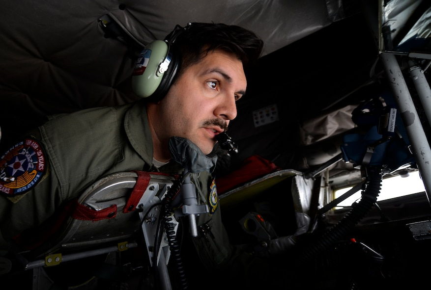 U.S. Air Force Tech. Sgt. Augie Marshall, 351st Air Refueling Squadron instructor boom operator, gives fuel to a Moroccan F-16 Fighting Falcons during exercise African Lion on April 19, 2017, over Morocco. Marshall flew the boom and maintained constant communication with the receiving aircraft during in-flight refueling. (U.S. Air Force photo by Staff Sgt. Micaiah Anthony)