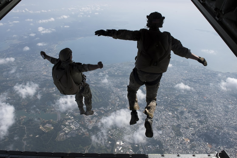 U.S. Army Soldiers conduct a high altitude, low opening jump off an MC-130J Commando II April 24, 2017, above Okinawa, Japan. High Altitude, low opening training prepares joint forces to rescue and recover U.S. and allied partners in times of danger or extreme duress. (U.S. Air Force photo by Senior Airman John Linzmeier)