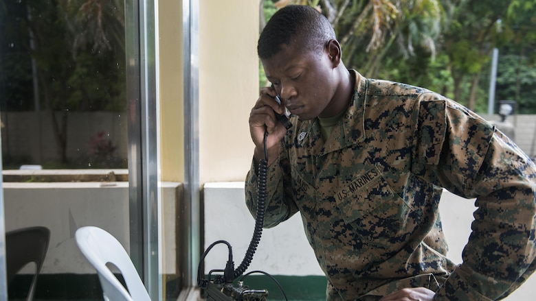 U.S. Marine Staff Sgt. Alexander Davis makes a test call on a AN/PRC-117G radio during Balikatan 2017 at Camp Lapulapu, Cebu, April 25, 2017. Balikatan is an annual U.S.-Philippine military bilateral exercise focused on a variety of missions, including humanitarian assistance and disaster relief, and counterterrorism. (U.S. Air Force photo by Senior Airman Corey Pettis)