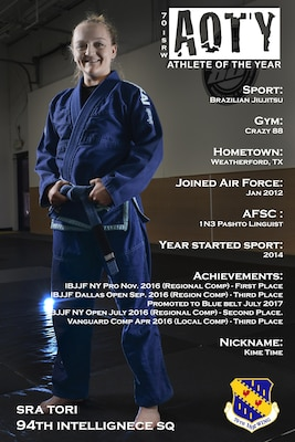 Senior Airman Tori, 94th Intelligence Squadron, was awarded third place in the female category for her accomplishments in Brazilian Jiu-Jitsu. Tori is a Pashto Linguist that has competed and placed in several Brazilian Jiu-Jitsu tournaments after starting the sport in 2014. (U.S. Air Force illustration by Staff Sgt. Alexandre Montes)