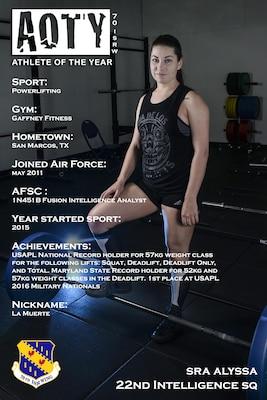 Senior Airman Alyssa, 22nd Intelligence Squadron, was awarded first place in the female category for her accomplishments in powerlifting. Alyssa is a Fusion Intelligence Analyst that has placed in several meets since starting the sport in 2015. (U.S. Air Force illustration by Staff Sgt. Alexandre Montes)