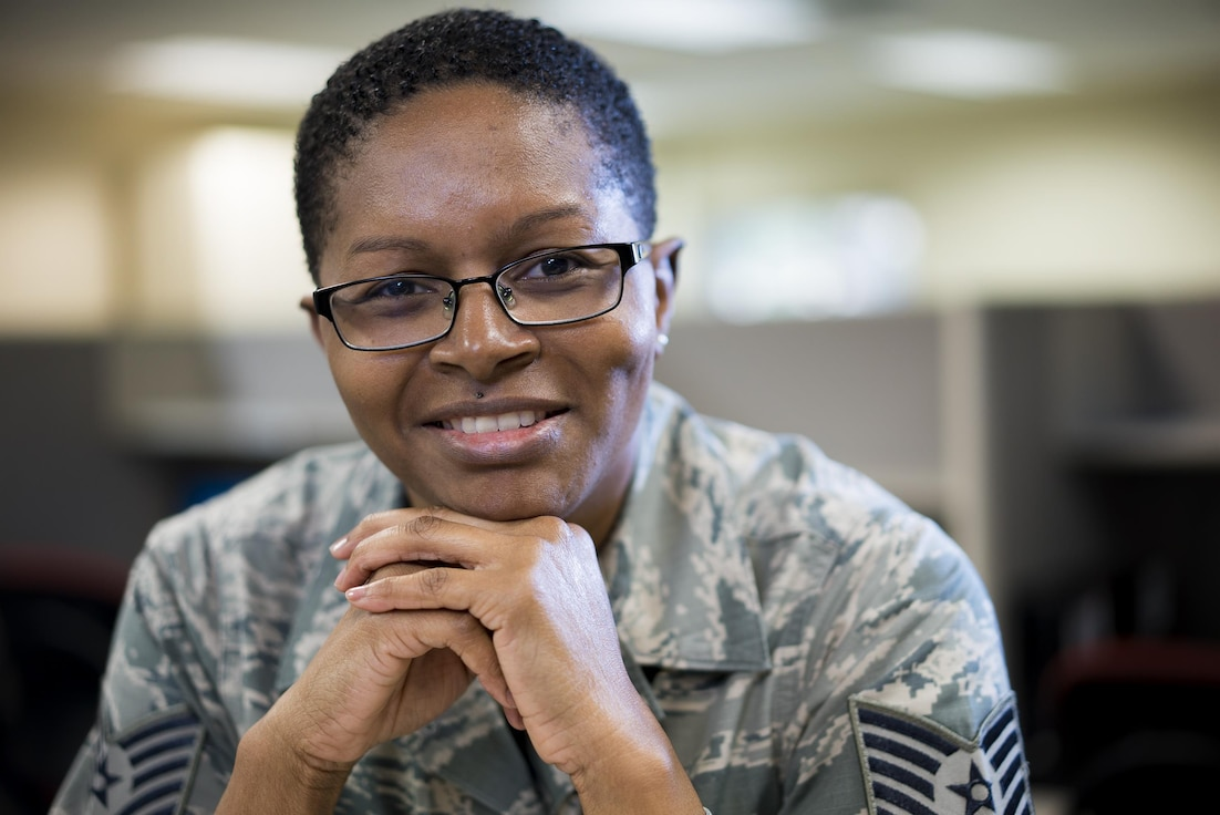 Tech. Sgt. Chanika Walters, 413th Aeromedical Staging Squadron command support staff NCO in charge, poses for a portrait April 25, 2017, at Robins Air Force Base, Georgia. Walters served in the U.S. Army for nine years before joining the Air Force Reserve in 2005. (U.S. Air Force photo by Jamal D. Sutter)