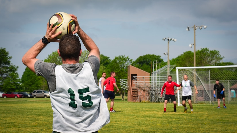 A French air force Airman participates in the ATLANTIC TRIDENT 17 soccer tournament, at Joint Base Langley-Eustis, Va., April 22, 2017. Over the course of the exercise, several other social events, to include a trip to Yorktown Battlefield, Va., were hosted by the U.S. Air Force, FAF and Royal air force. (U.S. Air Force photo/Staff Sgt. Areca T. Bell)