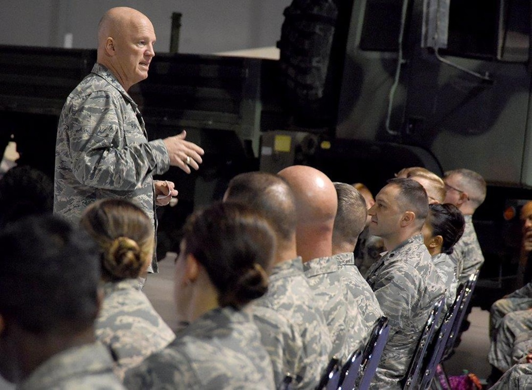 Gen. Jay Raymond, Air Force Space Command commander, conducts an all call with the the 5th Combat Communications Group at the Museum of Aviation at Robins Air Force Base, Ga. April 24, 2017. During the general's visit, he toured the 5th CCG, the Warner Robins Air Logistics Complex, hosted an all call with the 5th Mob and attended a social with local community leaders at the Museum of Aviation. (U.S. Air Force photo/Ed Aspera)
