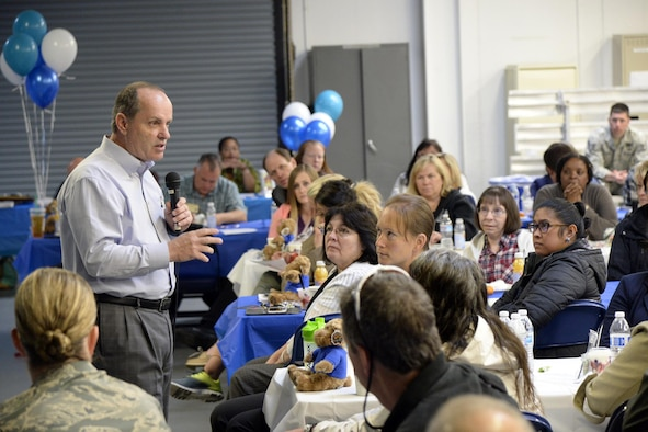 Hope 4 Utah Founder and Executive Director Dr. Gregory A. Hudnall speaks during a teen bullying and suicide prevention event at Hill Air Force Base, April 18. The event was meant in part to facilitate a critical discussion, very timely in Utah, a state with one of the nation's highest teen suicide rates. (Todd Cromar/U.S. Air Force)