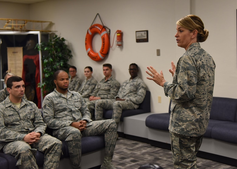 Col. Michele Edmondson, 81st Training Wing commander, briefs Airmen Leadership School students inside the heritage room April 21, 2017, on Keesler Air Force Base, Miss. She visits every ALS class to brief the importance of fulfilling a leadership role. (U.S. Air Force photo by Kemberly Groue)