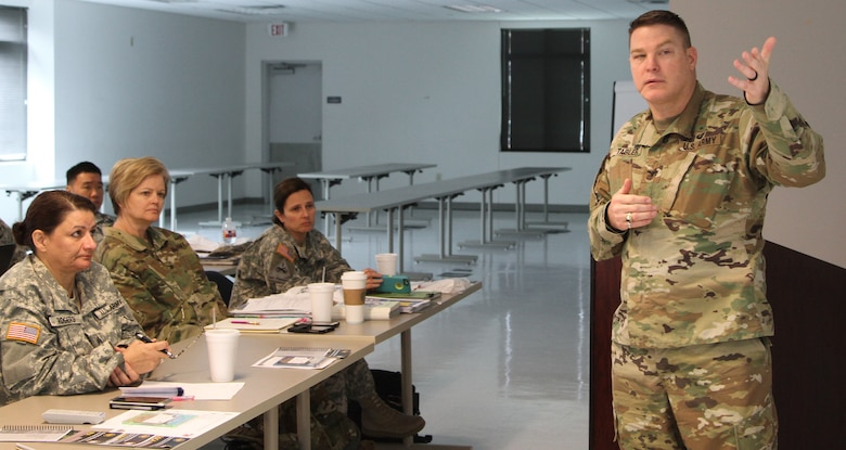 SEAGOVILLE, Texas -- Col. Hiram Tabler, the Director of Military Support for the Oklahoma Army National Guard, instructs the group on emergency management procedures as part of the Defense Support of Civil Authorities workshop held here on April 23, 2017. (U.S. Army Reserve photo by Spc. Christopher Hernandez, 345th Public Affairs Detachment)