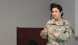 SEAGOVILLE, Texas -- Lt. Col. Judith Christians, the Deputy Regional Emergency Preparedness Liaison Officer of the Defense Coordinating Element for FEMA Region VI, gives a presentation as part of the Defense Support of Civil Authorities workshop held here on April 23, 2017. (U.S. Army Reserve photo by Spc. Christopher Hernandez, 345th Public Affairs Detachment)