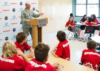 Col. David Willcox addresses youth center members during opening celebrations for the Center of Innovation April 20, 2017. (U.S. Air Force photo/Sara Francis)