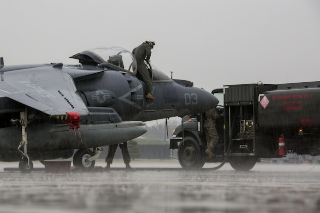 U.S. Marines with Marine Attack Squadron (VMA) 311 and Marine Air Group (MAG) 12 maintain AV-8B Harriers during Exercise MAX THUNDER 17, Kunsan Air Base, Republic of Korea, April 16, 2017. Max Thunder serves as an opportunity for U.S. and ROK forces to train together and sharpen tactical skills for the defense of the Asia-Pacific region. It is an annual military-flying exercise built to promote interoperability between U.S. and ROK forces. (U.S. Marine Corps photo by Lance Cpl. Carlos Jimenez)