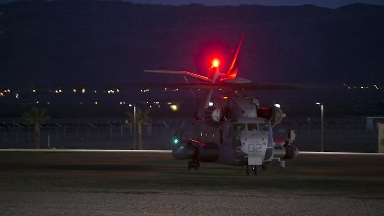 A CH-53 'Super Stallion' helicopter prepares to take-off at Del Valle Field during a non-combatant Evacuation Operation exercise as part of Weapons and Tactics Instructor Course 2-17 at Marine Corps Air Ground Combat Center Twentynine Palms, Calif., April 21, 2017. NEO exercises simulate real-life scenarios where non-combatants are evacuated from a potentially hostile area.