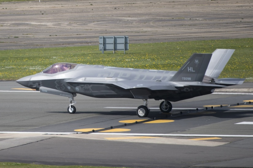 An F-35 Lightning II from the 34th Fighter Squadron at Hill Air Force Base, Utah, lands at Royal Air Force Lakenheath, England, April 15, 2017.The aircraft arrival marks the first F-35A fighter training deployment to the U.S. European Command area of responsibility or any overseas location as a flying training deployment. Air Force photo by Senior Airman Malcolm Mayfield