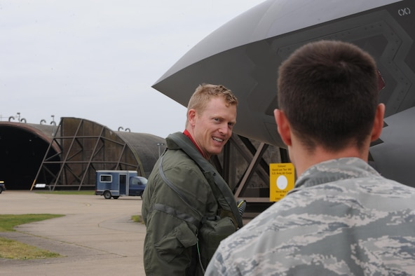 Maj. Luke Harris, an F-35A pilot from the 34th Fighter Squadron talks to 34th Aircraft Maintenance Unit crew chief Staff Sgt. Zachary Kasperek prior to flying a training mission at RAF Lakenheath. Airmen from the 388th and 419th Fighter Wings at Hill Air Force Base, Utah, deployed the F-35A overseas for the first time. While in Europe, they will train with units from the U.S. Air Force, Royal Air Force and air forces from other NATO allies. (U.S. Air Force photo/Micah Garbarino)