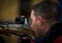 Cory Stanley, a Warrior Games athlete, takes aim at the bullseye during a shooting session at the Air Force team's training camp at Eglin Air Force Base, Fla., April 27. The base-hosted, week-long Warrior Games training camp is the last team practice session before the yearly competition in June. (U.S. Air Force photo/Samuel King Jr.)