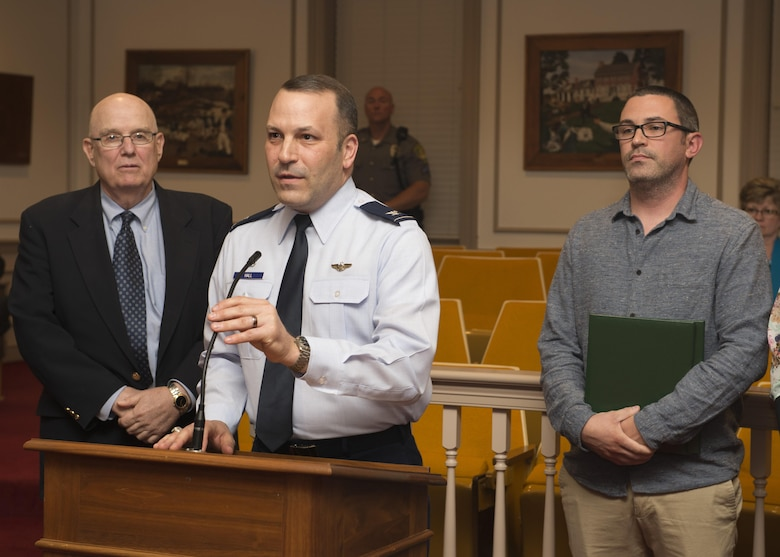 Col. Doug Hall, 436th Operations Group commander, speaks at a City of Dover City Council Meeting where Mayor Robin Christiansen proclaimed May 12, 2017, to be Military Spouse Appreciation Day throughout the city April 24, 2017, at City Hall in Dover, Del. Hall spoke on behalf of the military community from Dover Air Force Base. (U.S. Air Force photo by Senior Airman Zachary Cacicia)