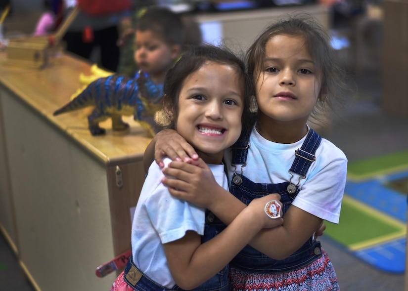 Ana, left, and Ava, military children and sisters, play at the Joint Base Charleston Child Development Center in South Carolina, April 6, 2017. April was named Month of the Military Child by former Defense Secretary Casper Weinberger in 1989 to applaud military children for their daily sacrifices.