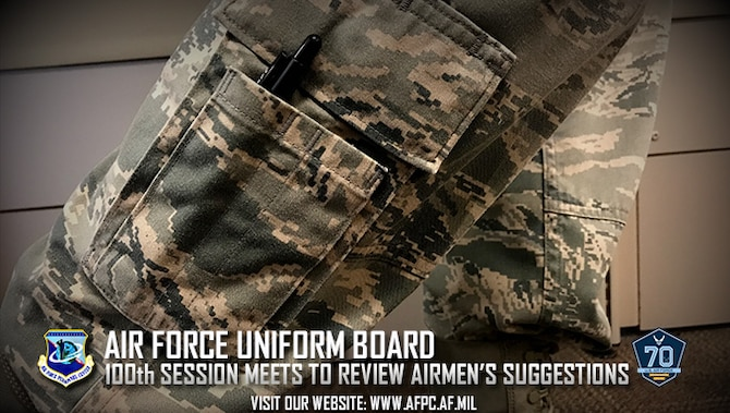 The 100th session of the Air Force Uniform Board is in session through April 28, 2017, to review ideas and recommendations submitted by Airmen in order to improve or change Air Force uniforms, wear policy and grooming standards. The board does not come up with its own ideas, but vets ideas submitted by Airmen. (U.S. Air Force photo by Kat Bailey)