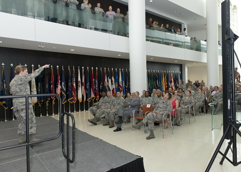 Chief Master Sgt. Lorraine F. Regan, command chief master sergeant of the Air National Guard Readiness Center, delivers remarks during the ANGRC Commander's Call and quarterly awards ceremony at Joint Base Andrews, Md., April 27, 2017. The awards ceremony formally recognized the top performing personnel in leadership, job performance in their primary duties, significant self-improvement, and base and community involvement. (U.S. Air National Guard photo by Master Sgt. Marvin R. Preston)