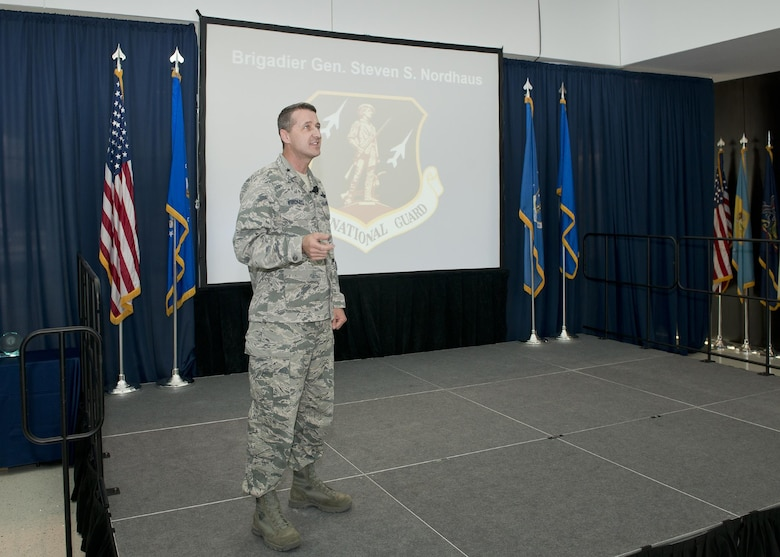 Brig. Gen. Steven S. Nordhaus, commander of the Air National Guard Readiness Center, delivers remarks during the ANGRC Commander's Call and quarterly awards ceremony at Joint Base Andrews, Md., April 27, 2017. The awards ceremony formally recognized the top performing personnel in leadership, job performance in their primary duties, significant self-improvement, and base and community involvement. (U.S. Air National Guard photo by Master Sgt. Marvin R. Preston)