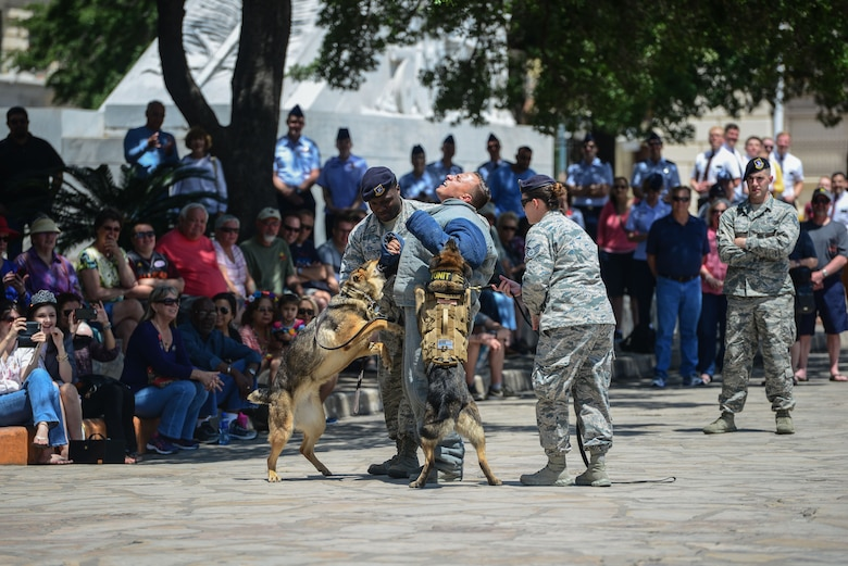 502nd Civil Engineer Squadron Explosive Ordnance Disposal technicians from Joint Base San Antonio-Lackland demonstrated their equipment and methods of bomb disposal during San Antonio's Fiesta 2017 Air Force Day at the Alamo April 24. Fiesta originated in 1891 as a tribute to the heroes of the Alamo and the Battle of San Jacinto. (U.S. Air Force photo by Andrew C. Patterson)
