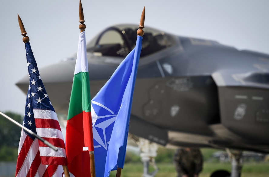 A U.S. Air Force F-35A Lightning II aircraft arrives at Graf Ignatievo Air Base, Bulgaria, April 28, 2017, marking the first time the NATO country has hosted the 5th generation fighter aircraft. Eight F-35s deployed from Hill Air Force Base, Utah to RAF Lakenheath, England on April 15. Two of the eight forward deployed to Bulgaria for a brief time which allowed the F-35s to engage in familiarization training within the European theater while reassuring allies and partners of U.S. dedication to the enduring peace and stability of the region. The F-35s are assigned to the 34th Fighter Squadron and are supported by total force Airmen from the 388th Fighter Wing, and the Air Force Reserve's 466th Fighter Squadron, 419th Fighter Wing, Hill Air Force Base, Utah. A KC-135 Stratotanker assigned to the 459th Air Refueling Wing provided the aerial refueling capability allowing the aircraft to fly non-stop to their destination. (U.S. Air Force photo by Tech. Sgt. Ryan Crane)