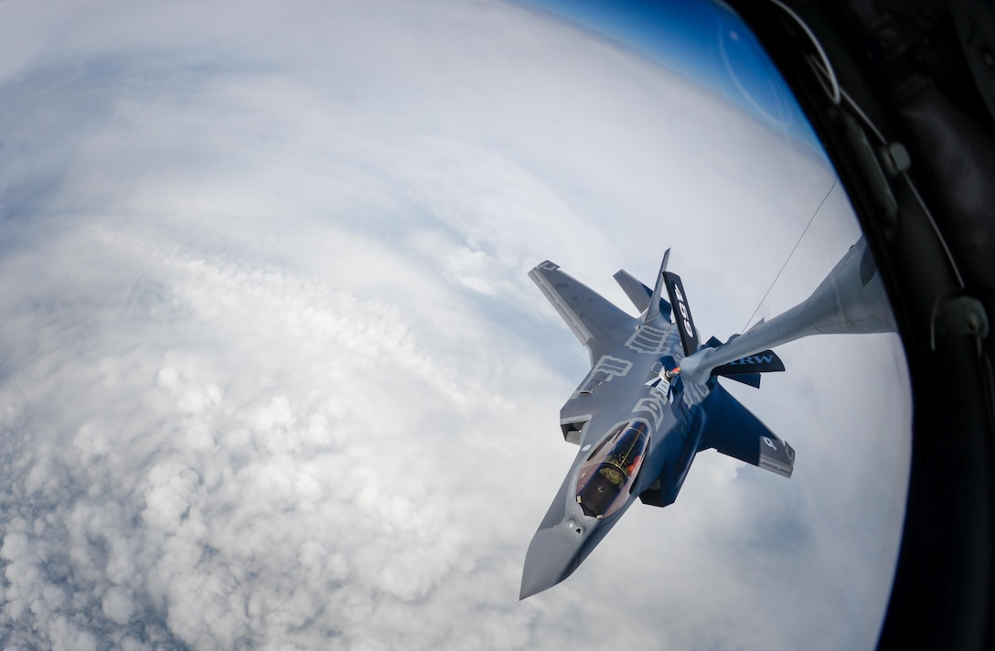A U.S. Air Force F-35A Lightning II aircraft assigned to Hill Air Force Base, Utah, prepares to be refueled by a 459th Air Refueling Wing KC-135 Stratotanker during a flight to Graf Ignatievo Air Base, Bulgaria, April 28, 2017. Eight F-35s deployed to RAF Lakenheath, England on April 15 and two forward deployed to Bulgaria for a brief time which allowed the F-35s to engage in familiarization training within the European theater while reassuring allies and partners of U.S. dedication to the enduring peace and stability of the region. The F-35s are assigned to the 34th Fighter Squadron and are supported by total force Airmen from the 388th Fighter Wing, and the Air Force Reserve's 466th Fighter Squadron, 419th Fighter Wing, Hill Air Force Base, Utah.(U.S. Air Force photo by Staff Sgt. Kate Thornton)