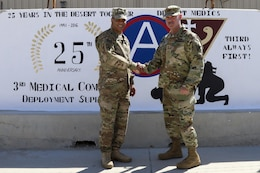Lt. Gen. Michael Garrett, commanding general of U.S. Army Central and Maj. Gen. William Lee, commanding general of 3rd medical Command (Deployment Support) pose during a brief site visit of a painted mural to celebrate 25 years of partnership between the two commands, April 21 at Camp As Sayliyah. The 3rd Medical Command provides USARCENT Soldiers with access to a variety of specialized capabilities while deployed, such as combat support hospitals, x-ray technology, dentistry, surgeons, and veterinarians. (U.S. Army photo by Sgt. Bethany Huff, USARCENT Public Affairs)